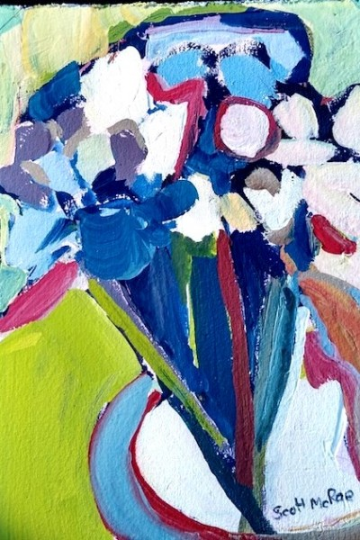 bright paste; colored flowers in a vase