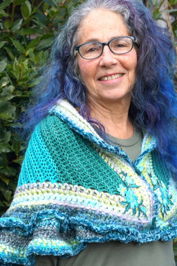 multi-colored blue and white shawl