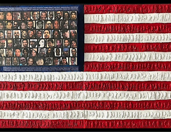 flag with images of people who died during 2020