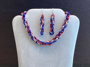 patriotic color necklace and earrings