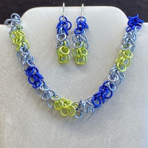blue and green necklace and earrings
