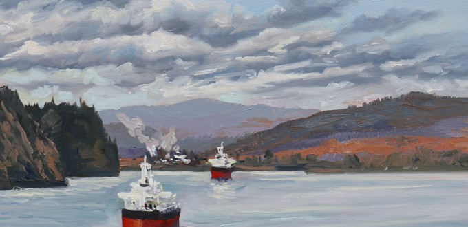 paiting of two colorful cargo ships passing on river